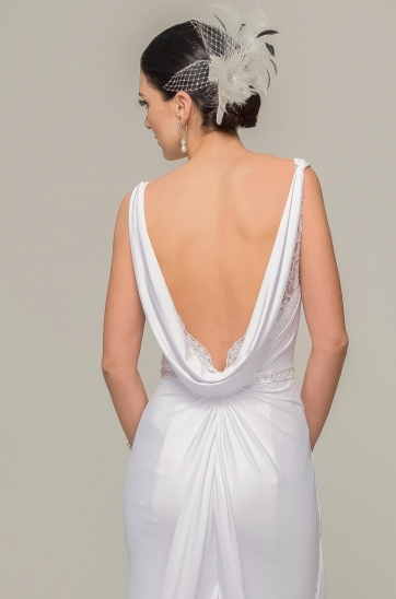 White wedding gown, Gatsby inspired, draped back with lace scallop inner, sheath silhouette, designer wedding gown, Ilse Roux Bridal, Bellville, Cape Town