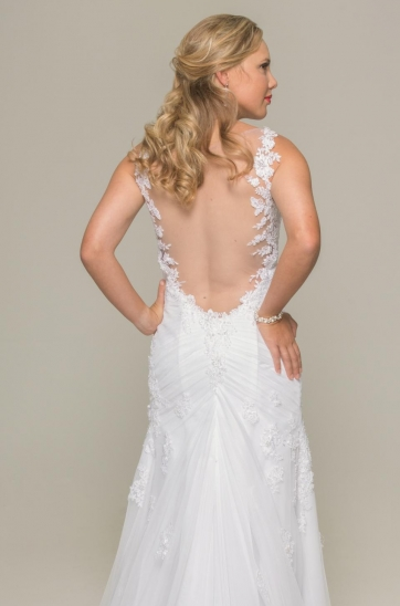 illusion low back, white beaded lace wedding gown, ilse roux bridal, cape town